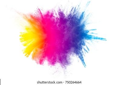 Explosion of color powder on white background.