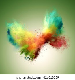 Explosion of colored powder in butterfly shape. Freeze motion of color powder exploding. Illustration