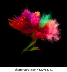 Explosion of colored powder in flower shape on black background. Freeze motion of color powder exploding. Illustration