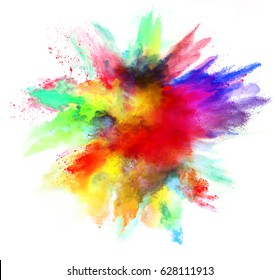 Explosion of colored powder, isolated on white background. Power and art concept, abstract blast of colors.