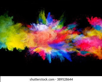 Explosion of colored powder on black background - Shutterstock ID 389528644