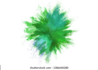 Explosion of colored powder on white background. Green dust explode.