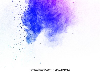 The explosion of colored powder on white background.Paint Holi.Colored cloud.