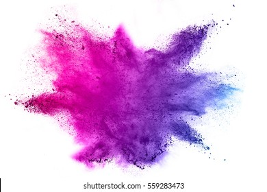 Explosion of colored powder on white background - Shutterstock ID 559283473