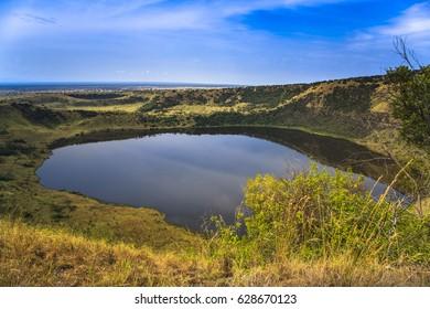 Explosion Craters lakes in Queen Elizabeth National Park, Uganda