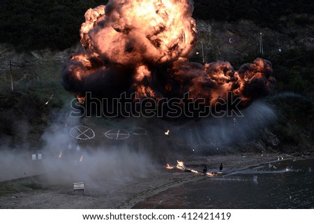An explosion during Turkish navy seal on practice in Istanbul, Turkey, 15 March 2015