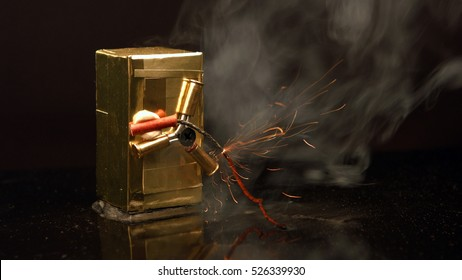 Explosion of dynamite to open the metal safe. Safety and security of data and values. Hacking theft.
