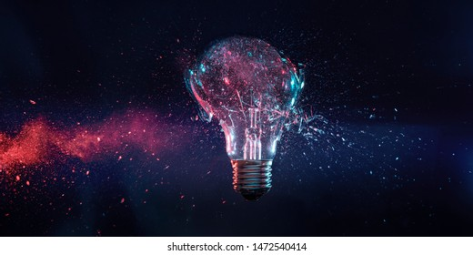 explosion of a filament electric bulb at the moment of impact. high speed photography.