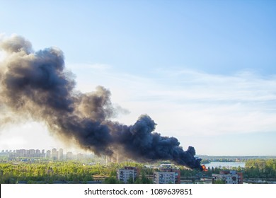 explosion, fire and black smoke. Fire in the city. Technogenic accident
