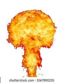 Explosion - fire mushroom. Mushroom cloud fireball from an explosion. Nuclear explosion. on white background