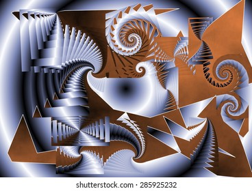 Explosion of joy of an android when he feels an orgasm for the first time, spirals that twist color tunic indu and silver, abstract expressionism, abstract surrealism,