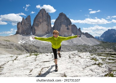 Explosion of joy from view of the Three Peaks of Lavaredo - Italy