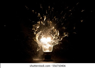 Explosion of light bulb