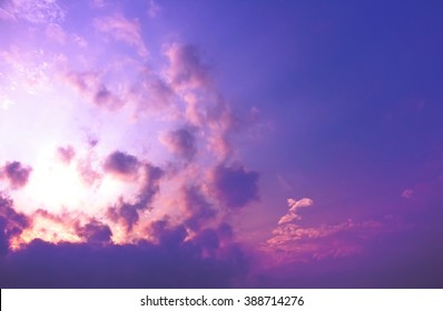 The explosion of light in purple sky