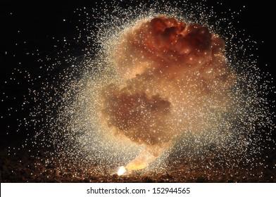 Explosion of a mixture consisting of potassium permanganate and aluminum powder.