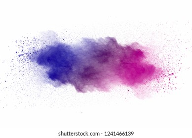 Explosion of multicolored dust on white background.