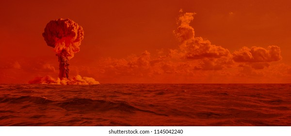 Explosion of a nuclear bomb in the ocean. Testing a weapon.
