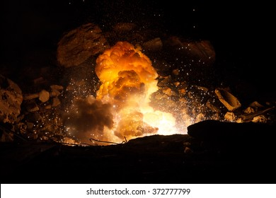 Explosion on the battlefield. Realistic fiery explosion inside an old ruined hall