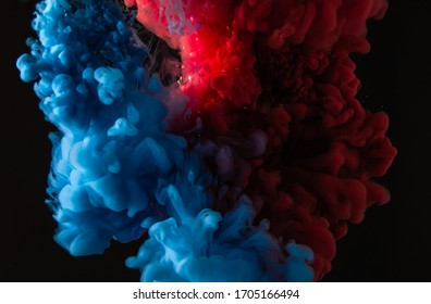 Explosion of paint mixing under water