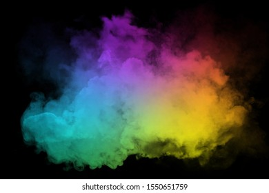 Explosion of pink blue green yellow powder. Freeze motion of color powder exploding in dark background