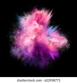Explosion of pink, violet and blue powder on black background. Freeze motion of color powder exploding. Illustration