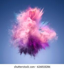 Explosion of pink, violet and blue powder. Freeze motion of color powder exploding. Illustration