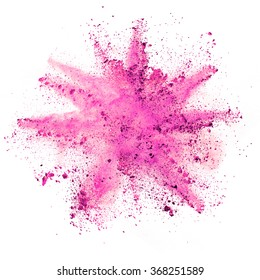 Explosion of purple powder on white background