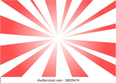 explosion of red light rays in white background
