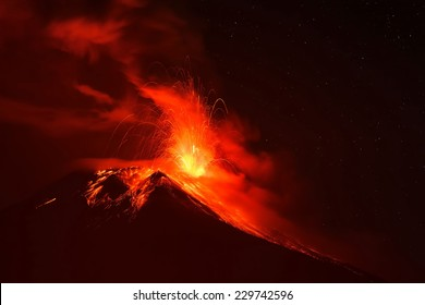 Explosion Of Tungurahua Volcano At Night, Ecuador, South America
