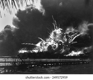 Explosion of the USS Shaw's forward magazine during the Japanese attack on Pearl Harbor, Dec. 7, 1941. The Shaw was repaired and served in the Pacific through World War 2.