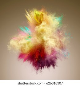 Explosion of yellow, red and aqua powder. Freeze motion of color powder exploding. Illustration