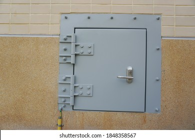 Explosion-proof door of control room in oil and gas plant.