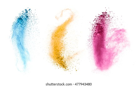 Explosions of colored powder, isolated on white background