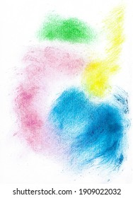 Explosions of colors splashed on white background. The colored powder roughly sprinkled on the white background. Abstract colorful background.