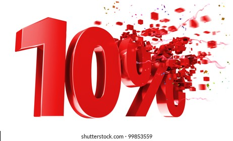 explosive 10 percent off isolated on white background