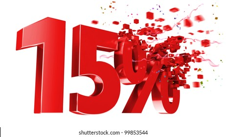 explosive 15 percent off isolated on white background