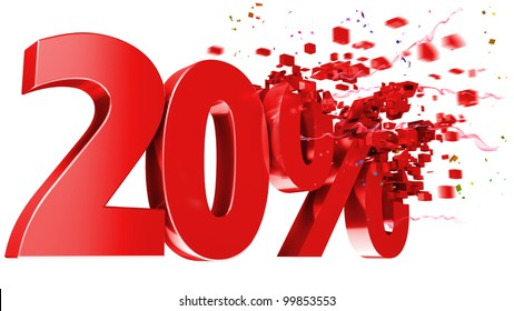 explosive 20 percent off isolated on white background