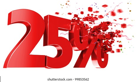 explosive 25 percent off isolated on white background