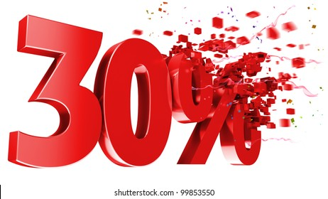 explosive 30 percent off isolated on white background