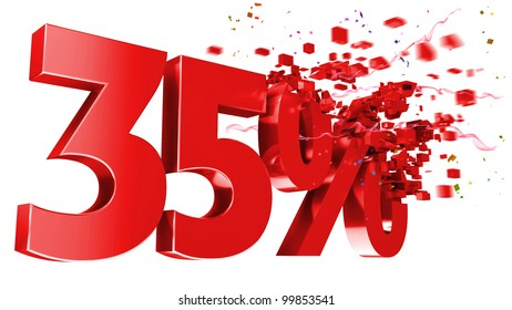 explosive 35 percent off isolated on white background