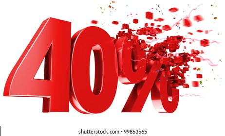 explosive 40 percent off isolated on white background