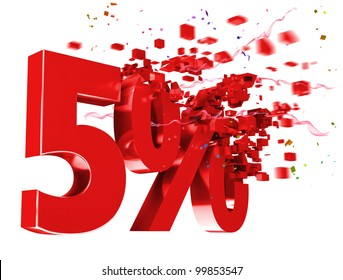 explosive 5 percent off isolated on white background