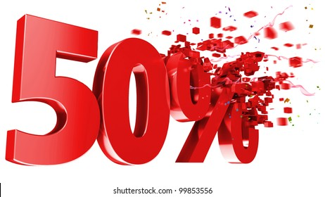 explosive 50 percent off isolated on white background