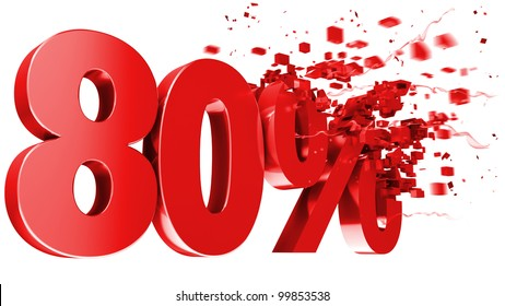 explosive 80 percent off isolated on white background