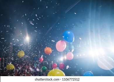 Explosive confetti at an entertainment party concert
