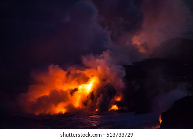 Explosive Lava Clouds at Night