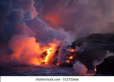 Explosive Lava meeting Ocean