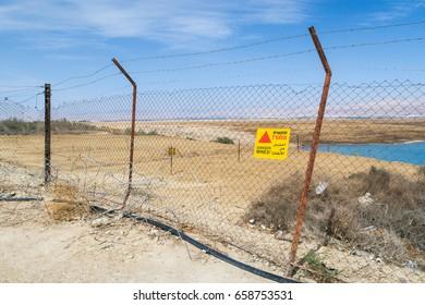 Explosive mines land.