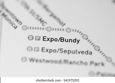 Expo Bundy Station Los Angeles Metro Map Stock Edit Now