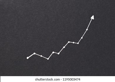 exponential diagram. trend success increase and financial forecast concept. arrow pointing upward on black paper background.